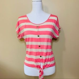 🚨CLEARANCE🚨Pink Striped Crop Top with Front Tie